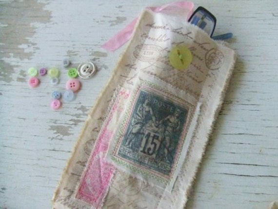 Fabric glasses case - glasses pouch - shabby chic - Hostess gift - French Postage stamps - Paris fabric- french inspired