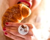 Miniature Food Ring: Italian Pastries and Hot Chocolate Cup on a Tiny Lace Doily - Foodie Gift