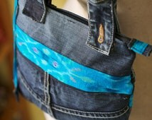 SAMPLE SALE  50% off  Indonesian ikat and recycled denim purse