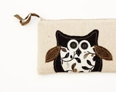 SALE personalized cosmetic bag, owl purse, organizer pouch, black brown white, for her,  READY to SHIP, by mamableudesigns