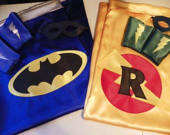 Custom SUPERHERO Cape mask and cuff set - Batman Robin Superman Wonder Woman
