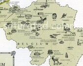 Vintage  Belgium Food Picture Map - 1960s map of the foods of Belgium