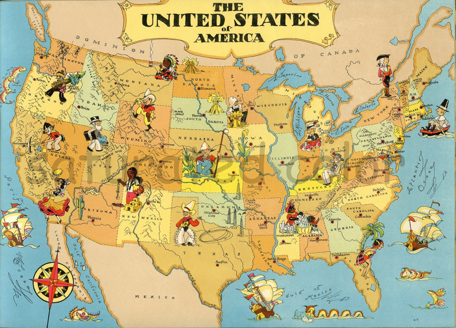 United States Map ORIGINAL  X  Vintage S Picture Map - Usa map and landmarks