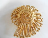 Reserved for Jaytic-Vintage brooch, Monet brooch, signed brooch, pinwheel or nautilus brooch, big and bold brooch