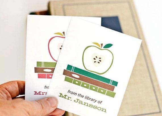 Teacher Bookplates, Personalized Bookplates, Teacher Gift // Apple of My Eye