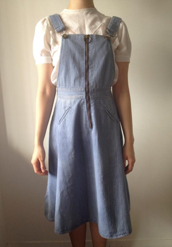 Vintage Denim Overall Dress / Jumper Dress