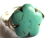 Turquoise Stone Flower Wire Wrapped Ring Fashion Jewelry