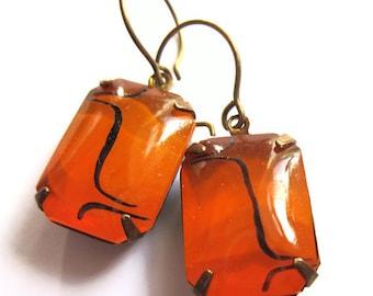 Orange and Black Glass Claw Set Earrings Fashion Jewelry