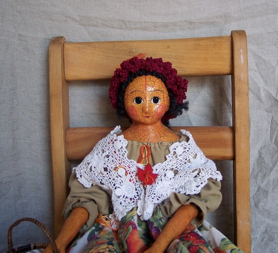 Grace: Cloth and Clay Autumn Pumpkin Art Doll by JDConwell