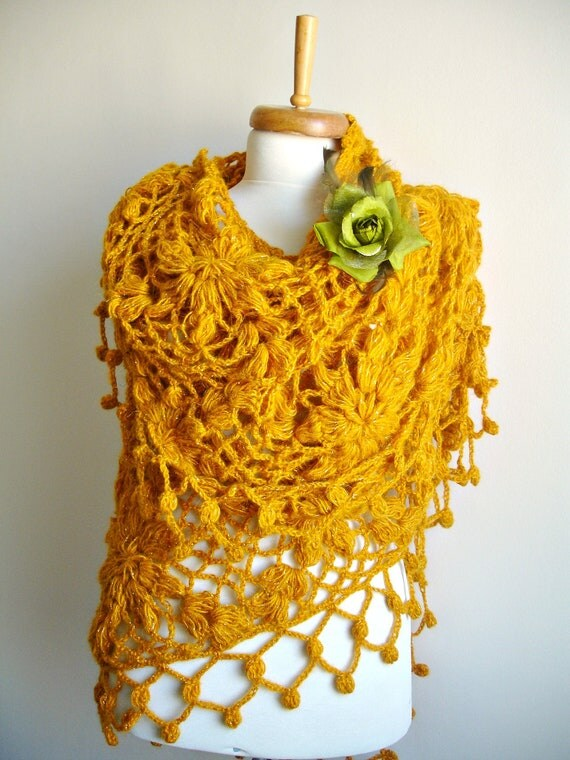 Mustard Shawl,  New Season, Autumn Winter Fashion,  Big Triangle Shawl By Crochetlab, Mohair, Ready To Ship, Gift for Her