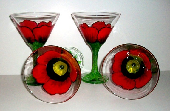 Red Poppies Hand Painted Martini Glasses Set of 4__8_1 /2 oz. Painted Martini Glasses Four Handpainted Glasses & Bargain Price Ready To Ship