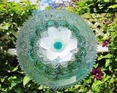 Teal Garden Art Plate Glass Flower Yard Suncatcher UpCycled RePurposed LELA