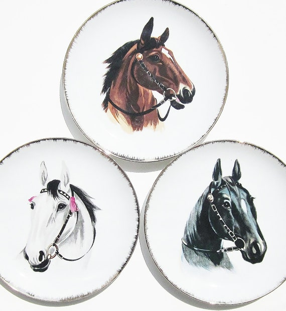 Vintage Collector Horse Plates Set Of Three Equine Art