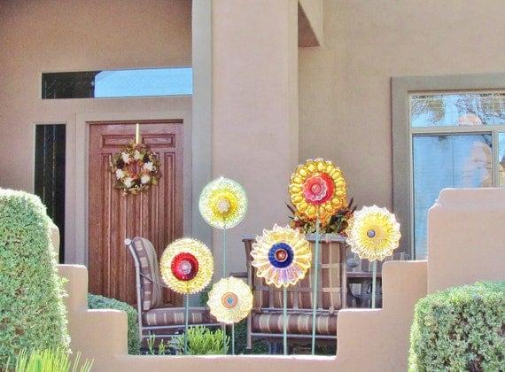 SALE Garden Art Decor Vintage Glass Flower Suncatcher Reclaimed Material
