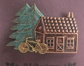 Up North Cabin with Bike and Tree Pin - a BZ Designs Original - Northwoods - Nature - Bicycle