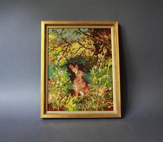 Vintage Handmade Framed Needlepoint  Rabbit Wall Hanging