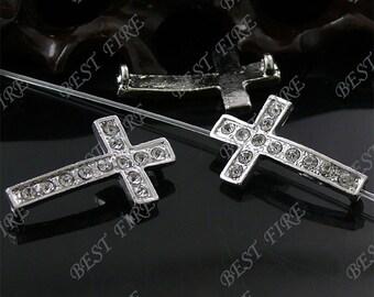 5pcs of 17x29mm platinum tone Rhinestone Cross Connector,Cross Bracelet Connector,bangle findings