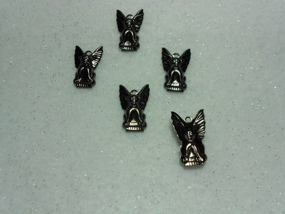 Halloween Charms Hematite Plated Gargoyle Charms Lot of 5
