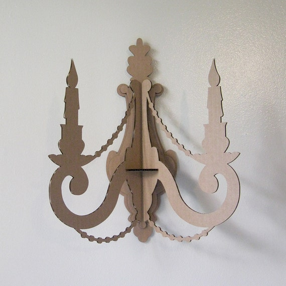 Wall Candle Sconces Etsy : Items similar to Wall Candle Sconce - Laser Cut Cardboard on Etsy