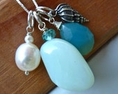 Pendant Necklace- Sea Foam Natural Opal, Ivory Pearl, Blue Chalcedony, and Sterling Silver Shell Charm.
