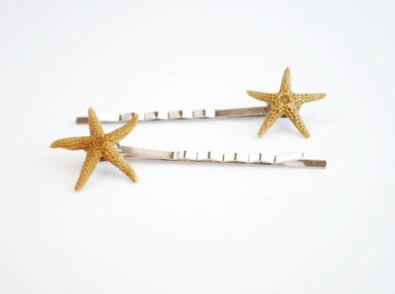 Starfish Hair Pins. Natural Beach Wedding Accessories