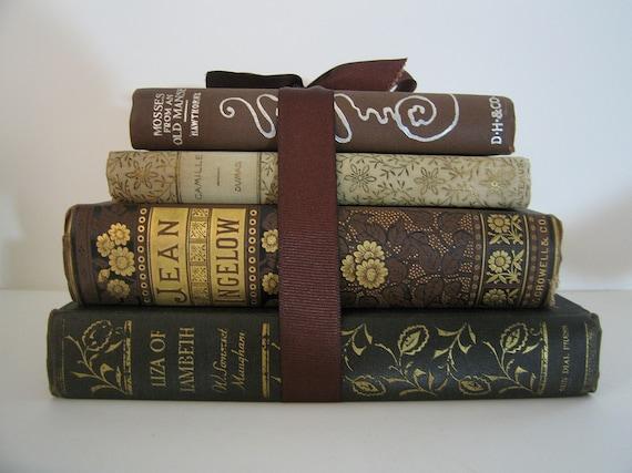 Antique & Vintage Books Bundle Classics Brown Gold Silver Leather Stunning Vintage Home Book Decor