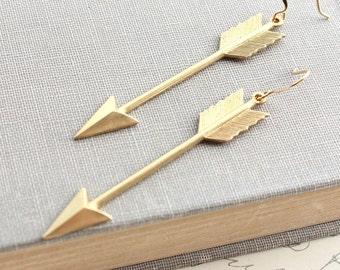 Golden Arrow Earrings, Long Dangles, Modern Boho Chic, Raw Gold Brass Jewelry, Archery, Gift for Her, Womens Jewelry, Nickel free
