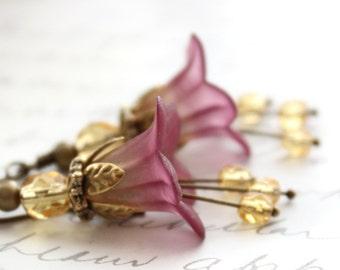 Lucite Flower Earrings Berry Purple Long Dangle Golden Honey Glass Drop Woodland Pixie Fairie Faerie Nature Inspired Jewellery Fairytale