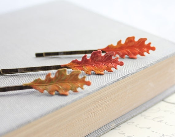 Fall Leaves, Leaf Bobby Pins, Autumn Hair Accessories, Harvest, Autumn Leaves, Oak Leaf, Orange, Red, Woodland Accessories