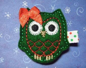 """Owl Christmas Felt Hairbow  Clippie  """"Greta"""" - For Infant Toddler Girl"""
