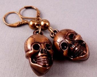 Skull Earrings Resin Earrings Skull Jewelry Brass Jewelry Beaded Jewelry Bronze Jewlery Beaded Earrings