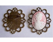 1pc 40x30mm setting Antique Bronze cameo setting 40x30 mount brooch Pin Back with large filigree edge allows for easy chain attachment 493x