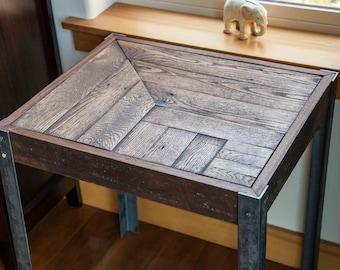 Repurposed Pallet Wood and Metal Side Table