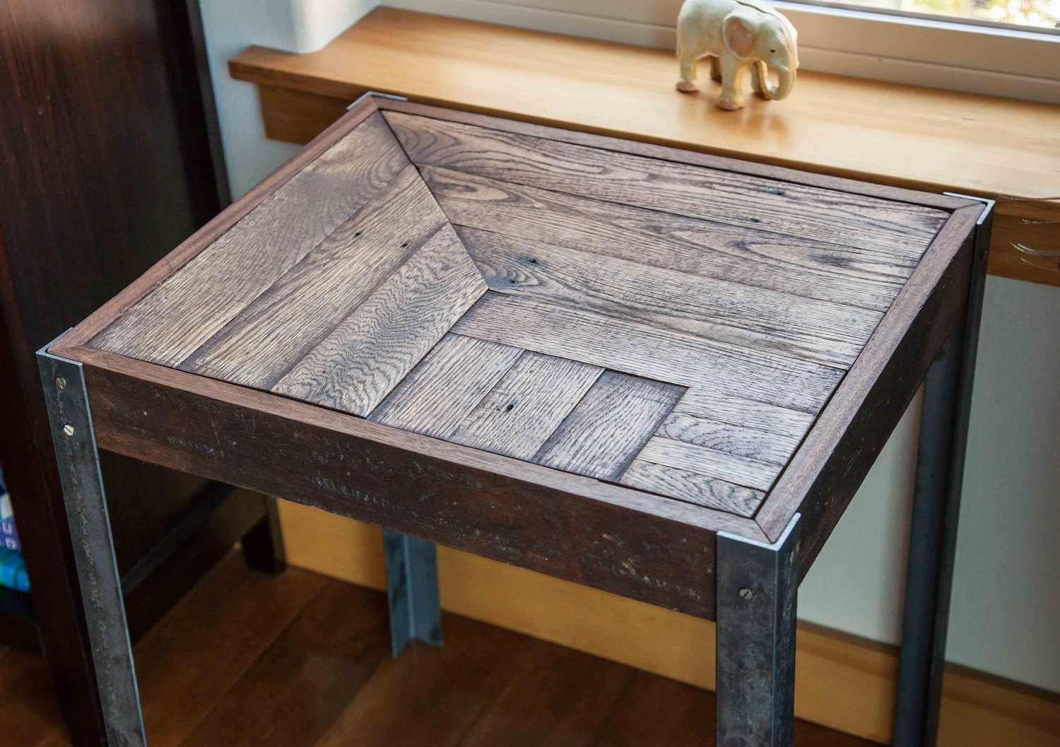 Repurposed pallet wood and metal side table for Pallet end table