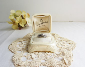 Vintage Antique Ring Presentation Box  - Pearly Off White Cream Art Deco - Valentine's Day Proposal