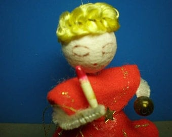 Vintage Mid Century Christmas Ornament - Blonde Angel - Made In Japan