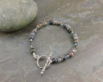 SALE! Spiritual Activation Bracelet with Pietersite, Labradorite & Fluorite (812)