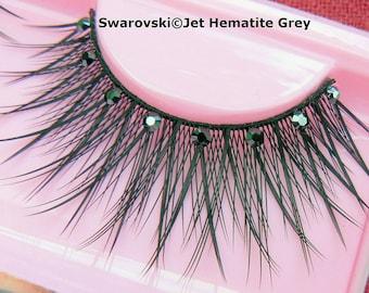 Sparkly Swarovski Crystal False Eyelashes Grey Hematite Lashes Diamante