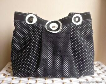 Black Shoulder Bag  with Leather Flowers /Medium
