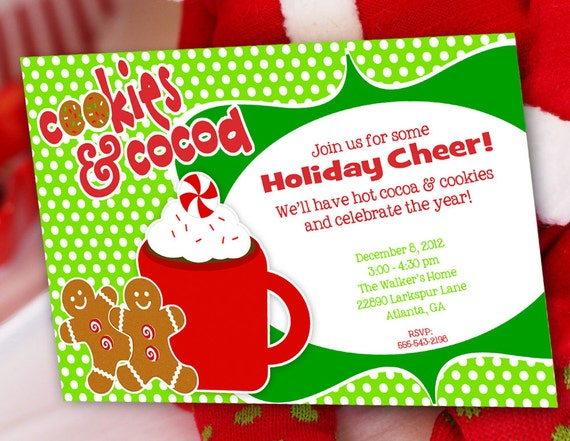 Cookies and Cocoa Christmas Party Invitation, Gingerbread Man, Candy Christmas Invitation by Amanda's Parties To Go