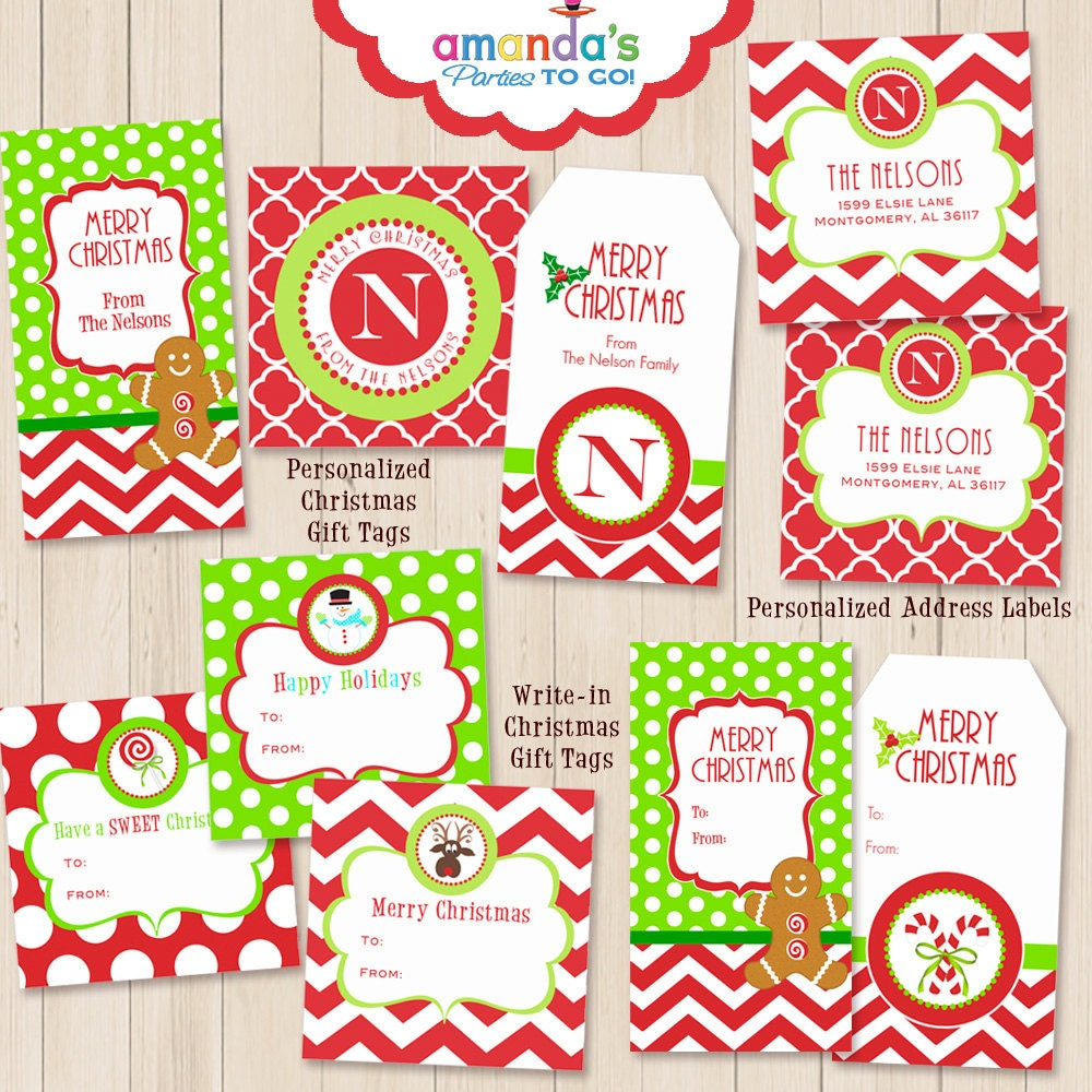 Christmas Gift Tags Printables Personalized by AmandasPartiesToGo