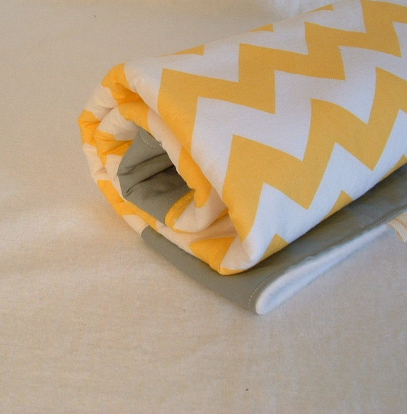 fleece baby blanket, stroller blanket, crib quilt, play mat, tummy time mat yellow chevron and gray