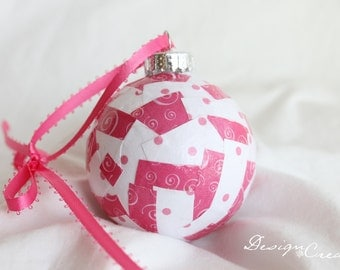 Christmas Ball - Pink swirls and polka dots - Decoupage Ornaments, Unique - Handcrafted Christmas Ball