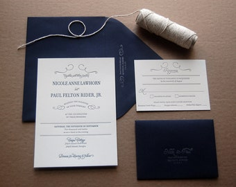 Letterpressed Wedding Invitations - Nikki