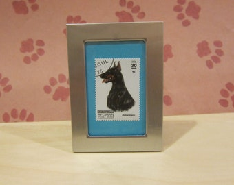 Doberman - Recycled Postage Stamp Framed Art or Key Chain