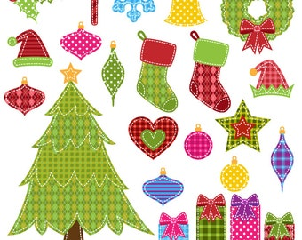Patchwork Christmas Clipart Clip Art, Patchwork Holiday Clip Art Clipart with Tree, Stockings, Wreath - Commercial and Personal