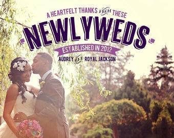 Vintage Newlywed Wedding Thank You Card Design
