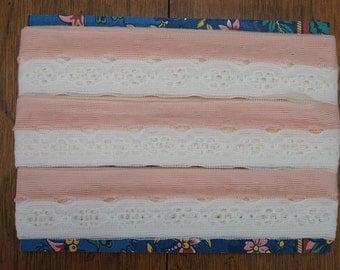 Soft Peach and Cream Flat Raschel Lace 11 Yards