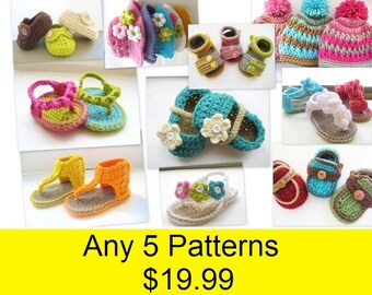 Sale , Crochet Pattern Booties , Last Day,  Any 5 Patterns for 19.99