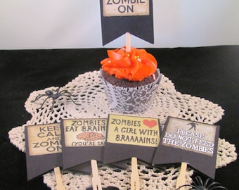 Zombie Halloween Cupcake Topper/Cocktail Forks featuring Humorous Zombie Facts
